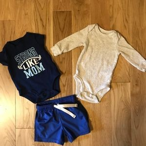 Carter's blue onesies and shorts set.